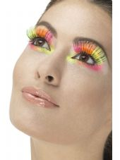80's Neon Multi-coloured Party Eyelashes